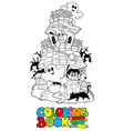 coloring book with haunted house vector image vector image