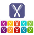 combs icons set vector image vector image