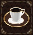 Cute ornate vintage wrapping for coffee coffee cup vector image