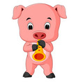 cute pig playing saxophone vector image