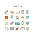 different gadget thin line color icons set vector image vector image