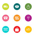 fast ride icons set flat style vector image vector image