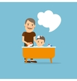 Father washing baby vector image vector image