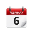 february 6 flat daily calendar icon date vector image vector image
