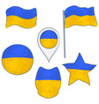 flag of the ukraine performed in defferent shapes vector image