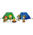 four kids camping out vector image vector image