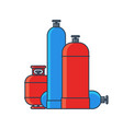 gas tanks set various gas tanks in flat line vector image