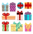 Gift boxes flat icons set vector image