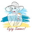 girl on a beach with cocktail vector image vector image