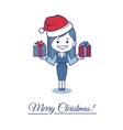 Greeting card Merry Christmas with character girl vector image
