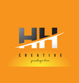 hh h h letter modern logo design with yellow vector image vector image