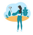 influencer filming video blog vector image vector image