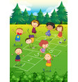 kids playing hopscotch in the park vector image vector image
