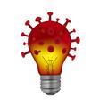 light bulb in shape coronavirus vector image vector image