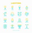 lighting thin line icons set vector image vector image