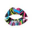 Lipstick kiss striped on white background vector image