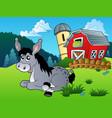 lying donkey near farm vector image