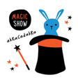 magic show banner rabbit magician equipment vector image vector image
