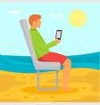man distant beach work concept background flat vector image
