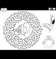 maze game with squirrel with accorns coloring vector image vector image
