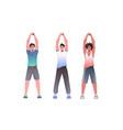 mix race men doing yoga fitness exercises training vector image