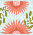 natural pink flowers branches leaves vector image vector image