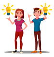 new idea happy teenager guy girl with bulb over vector image vector image