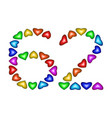 number 62 sixty two of colorful hearts on white vector image