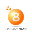 number eight splash logo orange dots and bubbles vector image vector image