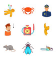 phobias icons set cartoon style vector image vector image