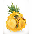 pineapple juice fresh fruit 3d realism icon vector image