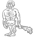 prehistoric primitive man cartoon coloring book vector image