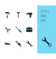 repair icons set with bolt toolbox drill and vector image