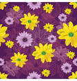 Seamless flower pattern with lined and colored vector image vector image