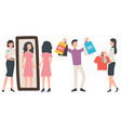 seller and buyer people shopping clothes vector image