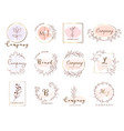set hand drawn watercolor labels and badges vector image