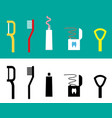 set of dental care tool flat icon vector image vector image