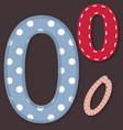 Set of stitched font - 0 Zero vector image vector image