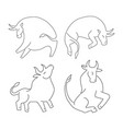 set ox and bull on white background chinese happy vector image
