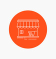 shop store market building shopping white line vector image