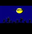 silhouette zombies have moon and blue background vector image