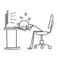 stick man cartoon of man sleeping with head on vector image