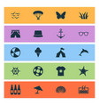 summer icons set with lifebuoy pool butterfly vector image vector image