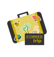 Summer trip suitcase with stickers travel banner