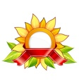 Sunflower ribbon vector image
