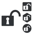 Unlocked icon set monochrome vector image