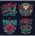 vintage tattoo studio colorful labels vector image vector image