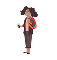 young girl high school student at break african vector image