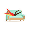 young smiling bearded man lying on a ligh blue vector image vector image