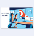 young woman in airport looking through vector image